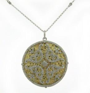 textured gold and diamond pendant