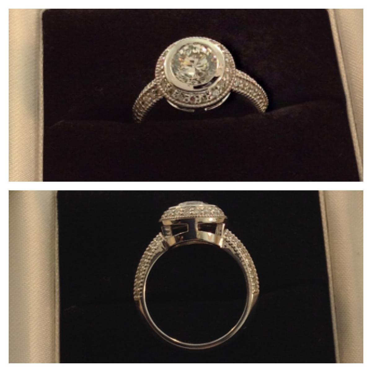bezel set halo engagement ring