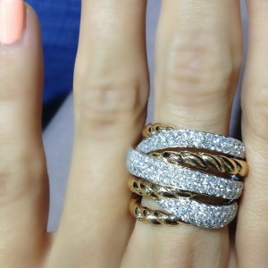 yellow gold rope and diamond ring