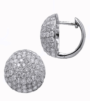 Domed Pave Diamond Earrings Toronto