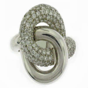 Lab Created Pave Diamond Knot Ring