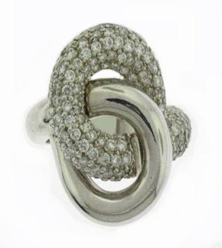 Lab Created Pave Diamond Knot Ring