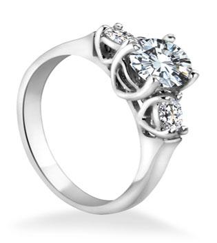 Round Brilliant 3 Diamond Engagement Ring