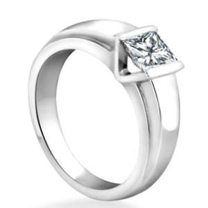 Tension Set Solitaire Lab Engagement Ring