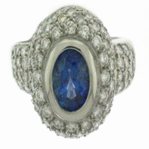 Sapphire Pave Diamond Ring Blue