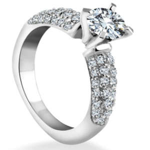 Brilliant Engagement Ring PAVE Diamond