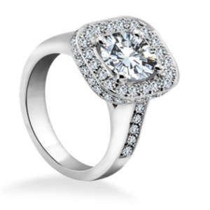 Engagement Ring with Double Halo Diamond