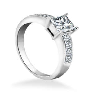 Princess Cut Side Diamond Engagement Ring