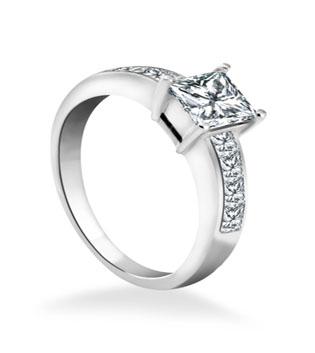 Princess Cut Side Diamond Engagement Ring