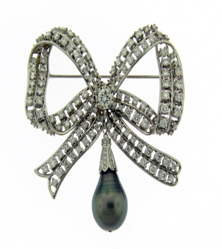 Diamond and Pearl Bow Brooch