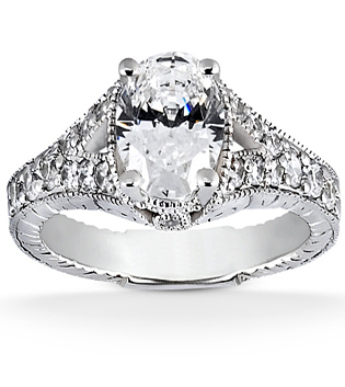 Unique Oval Cut Diamond Engagement Ring