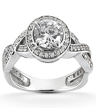 Engagement Ring With Twisted Diamond Band