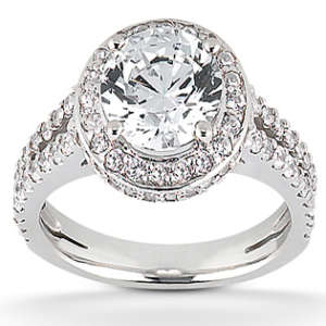 Split Shank & Halo Engagement Ring