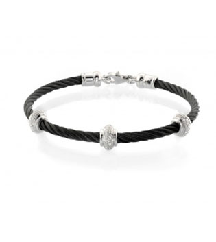 Black Stainless Steel Dimaond Disc Bangle