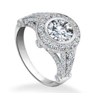Fancy Engagement Ring Diamond Detailing