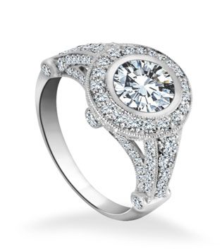Fancy Engagement Ring Diamond Detailing
