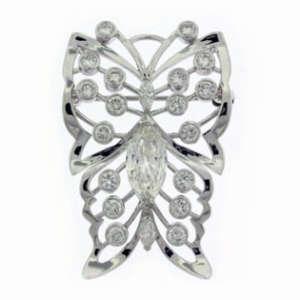 Round Brilliant Diamond Butterfly Brooch