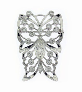 Round Brilliant Diamond Butterfly Brooch