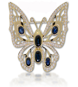 Diamond Butterfly Pendant Blue Sapphire