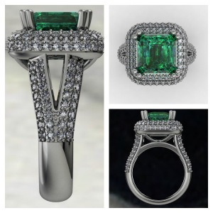 green emerald diamond halo ring