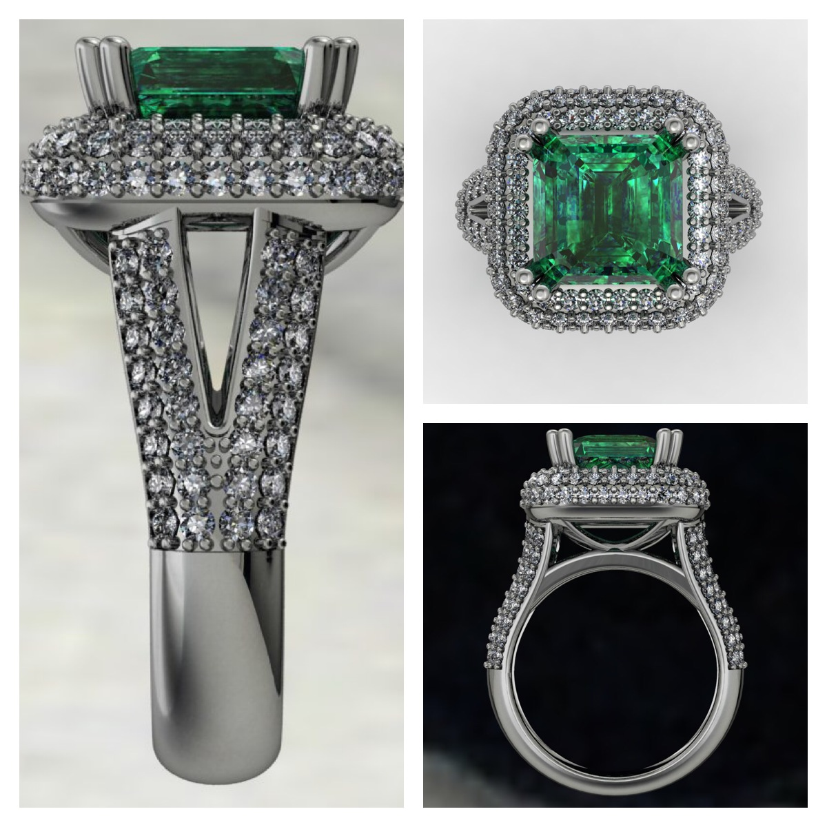 Emerald Halo Pave Ring