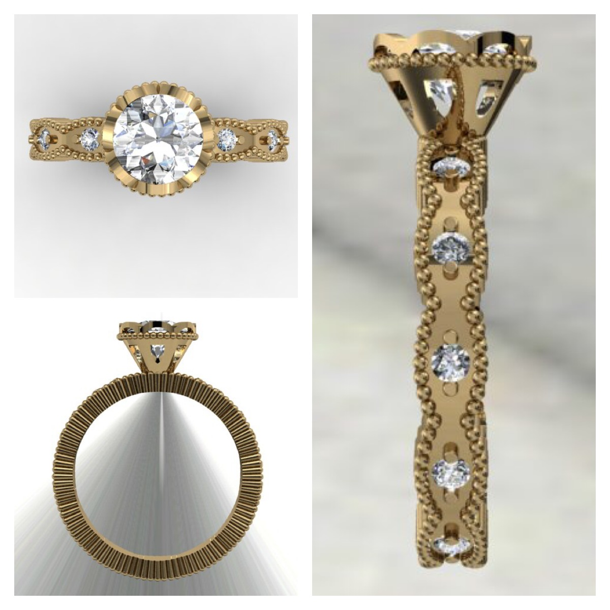 Yellow Gold Vintage style Engagement Ring