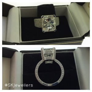 7.00ct Radiant Cut diamond engagement ring
