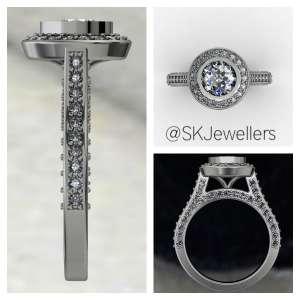 Bezel Halo Engagement Ring