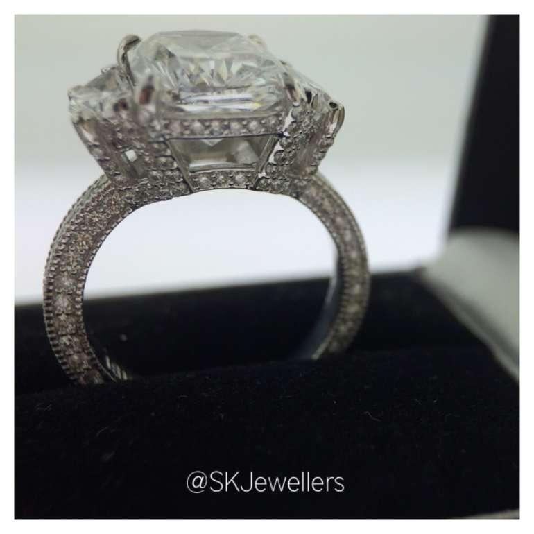 Cushion cut & Half Moon Diamond Engagement Ring