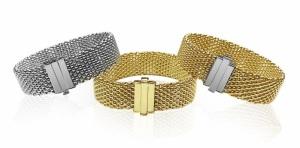 wide mesh gold bracelets