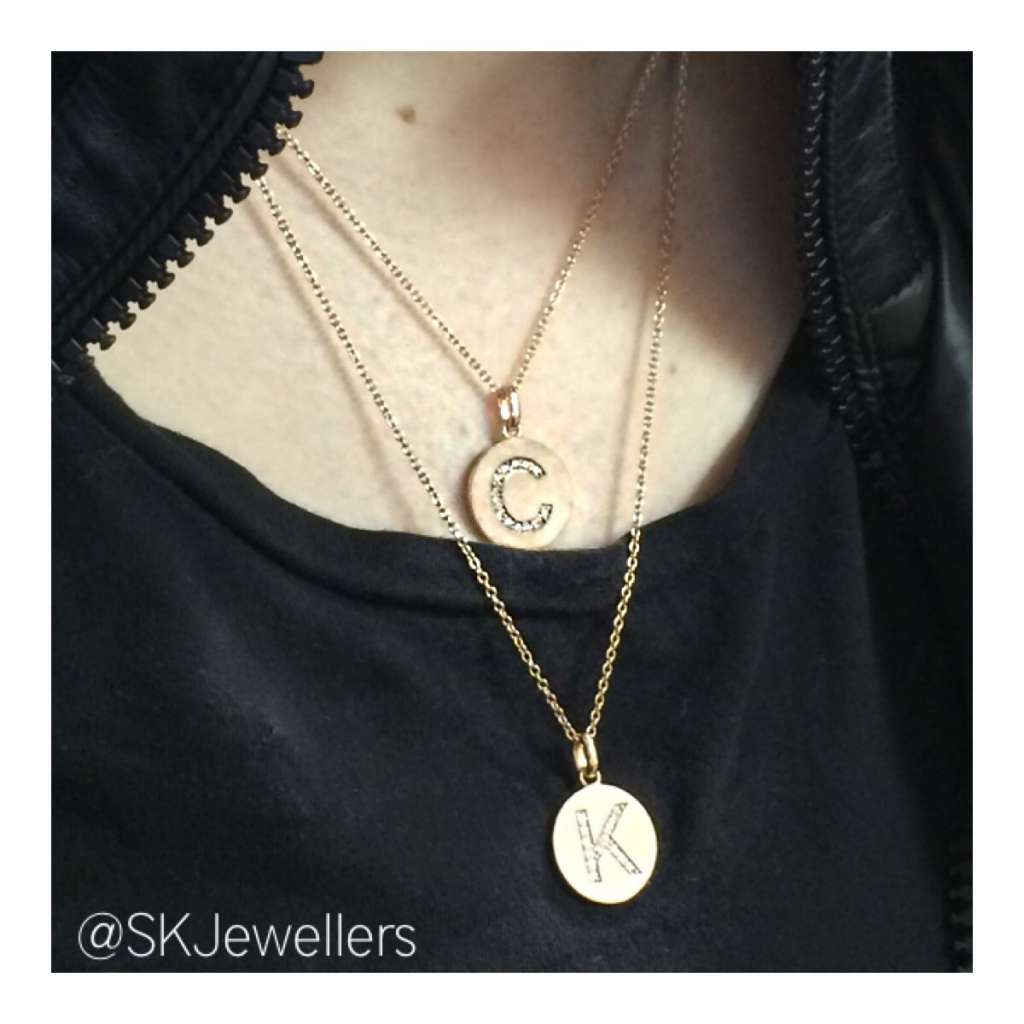 rose gold initial pendants
