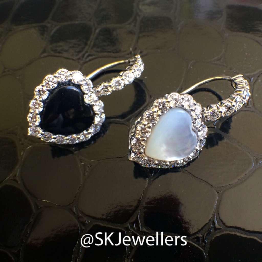 heart shaped onyx and mop diamond earrings
