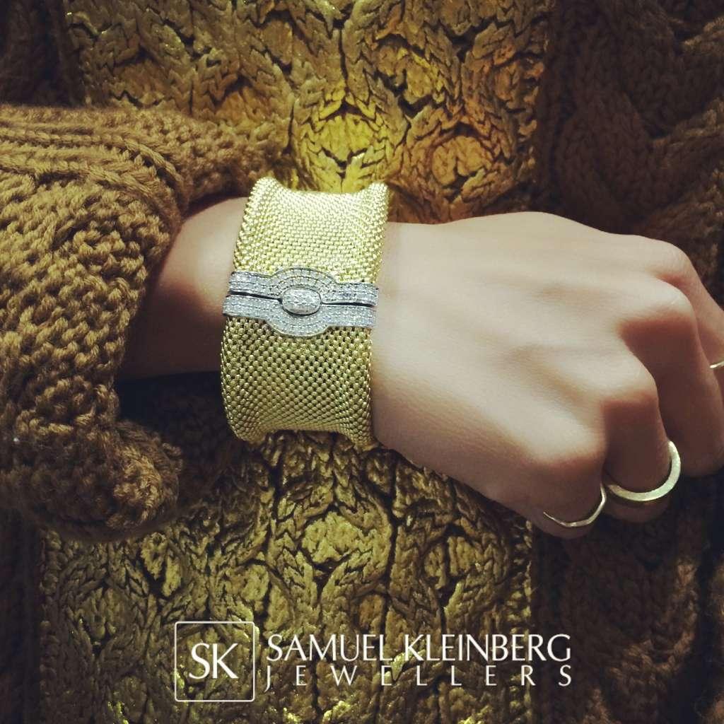 18k yellow gold mesh textured diamond bracelet