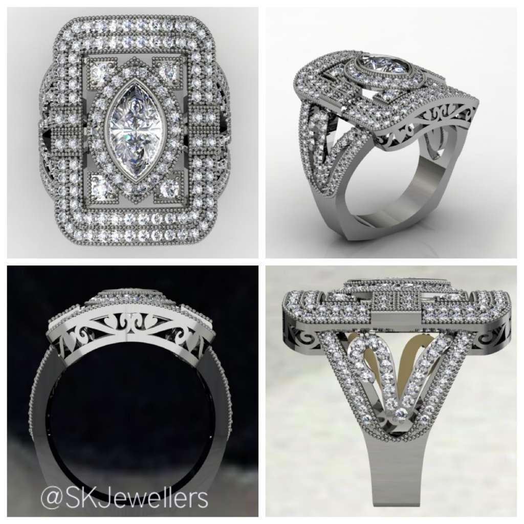 art deco diamond ring design