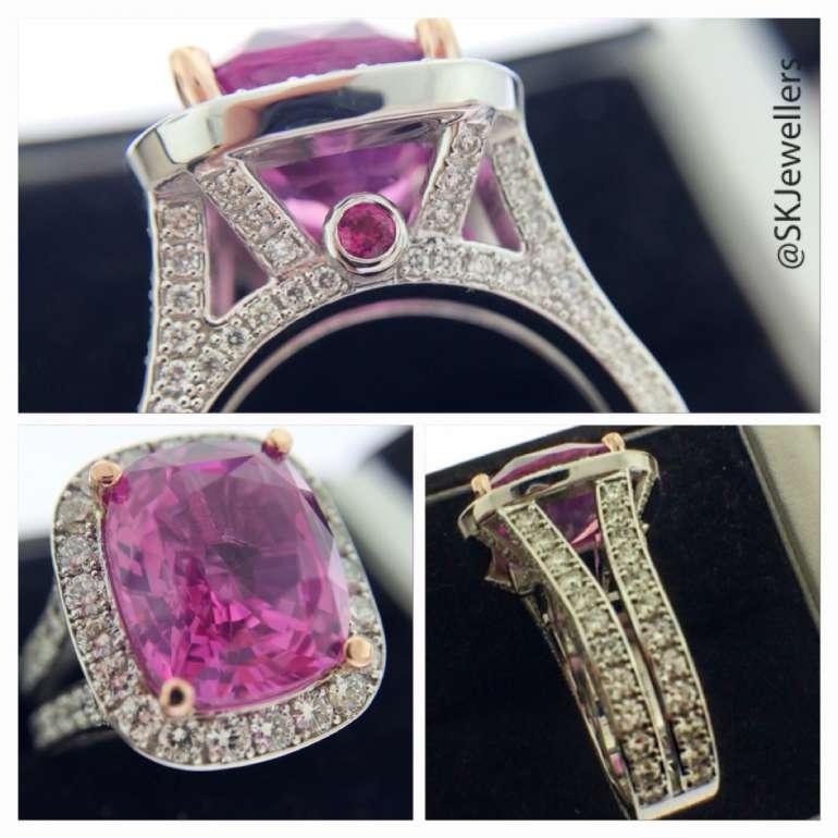 8.22ct Cushion cut Pink Sapphire statement ring