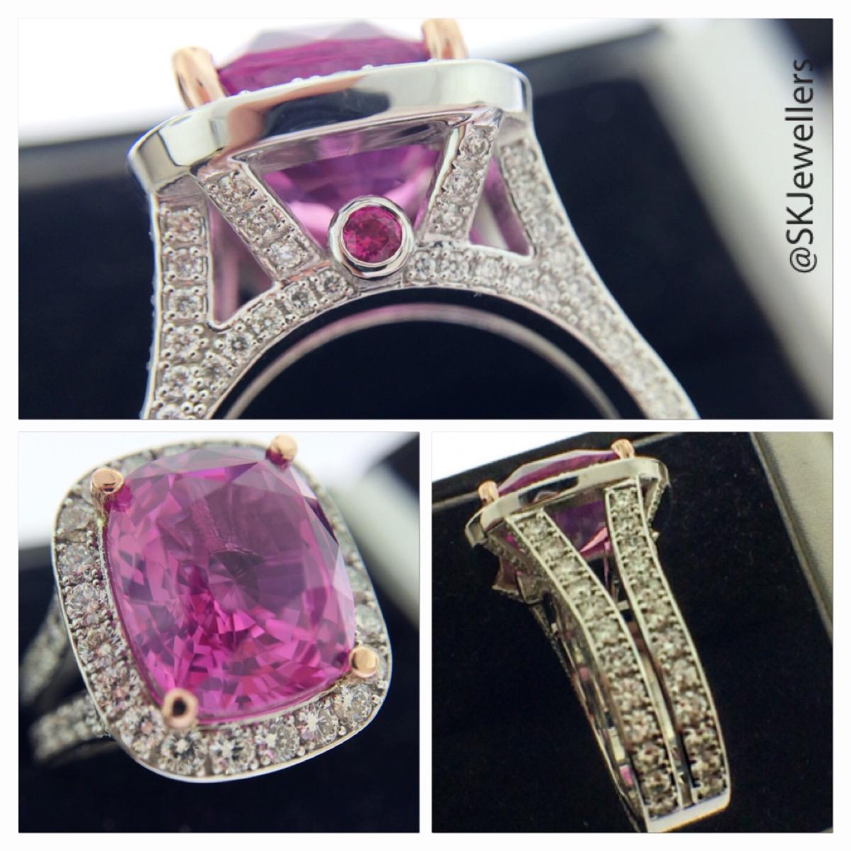 822ct cushion cut pink sapphire statement ring samuel