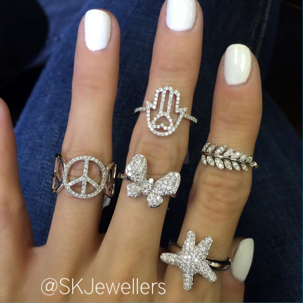 peave, butterfly, hamsa, star diamonds rings