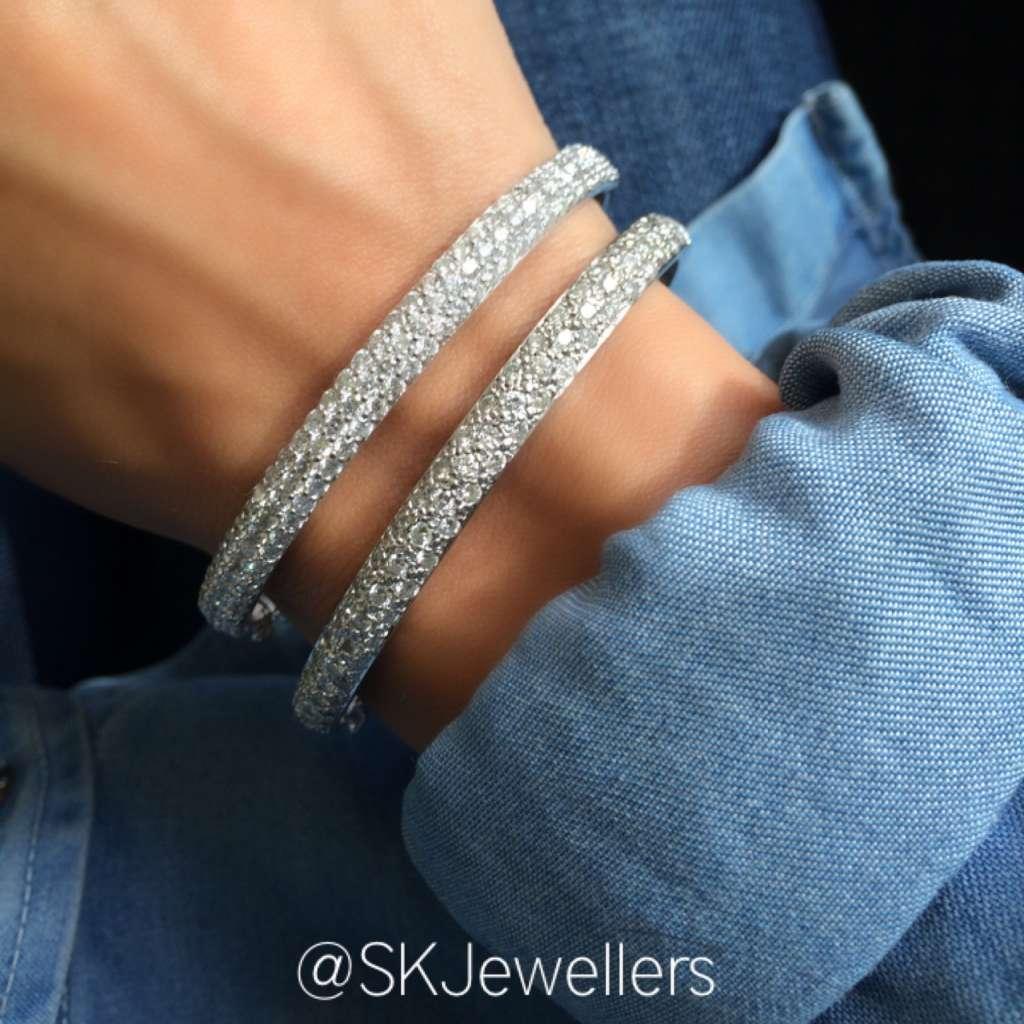 pave diamond banglees