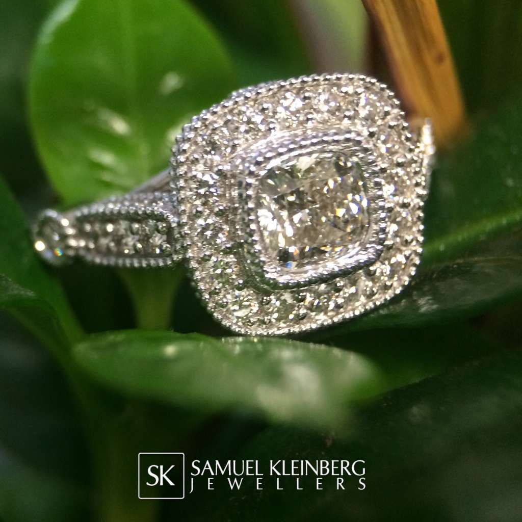 vintage halo cushion engagement ring
