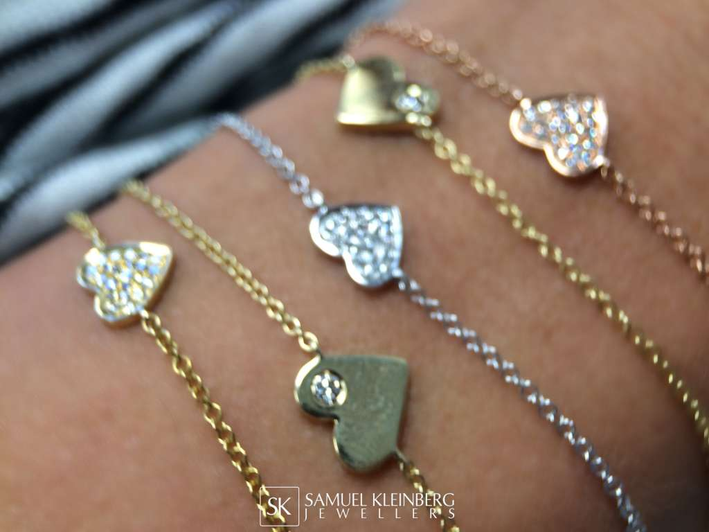 Diamond heart bracelets