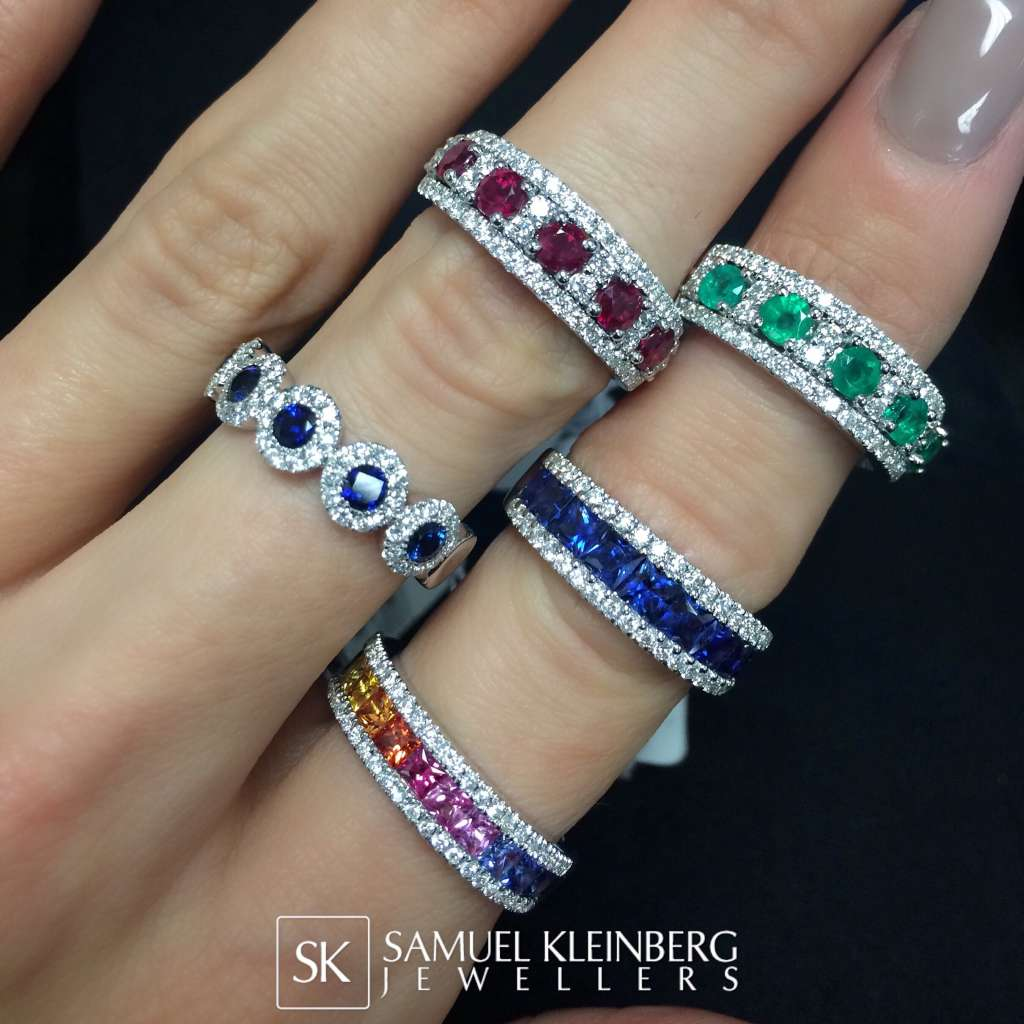 Sapphire, ruby, emerald rings