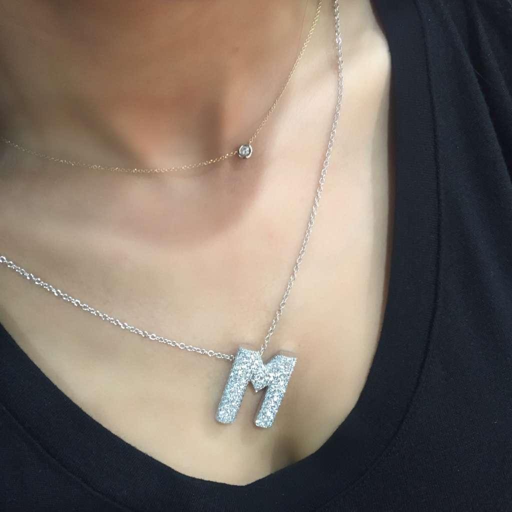 pave diamond initial M