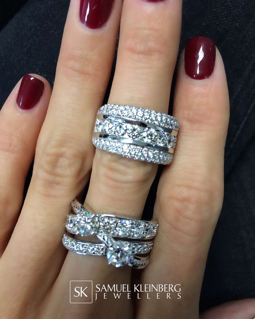 fancy multi row diamond rings