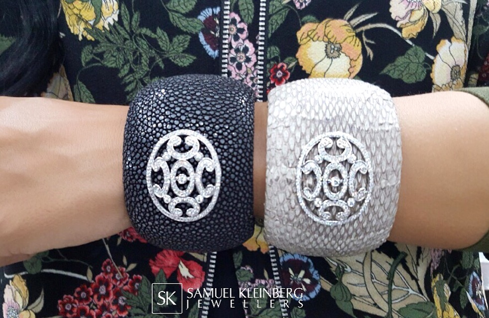 stingray leather cuff with diamonds