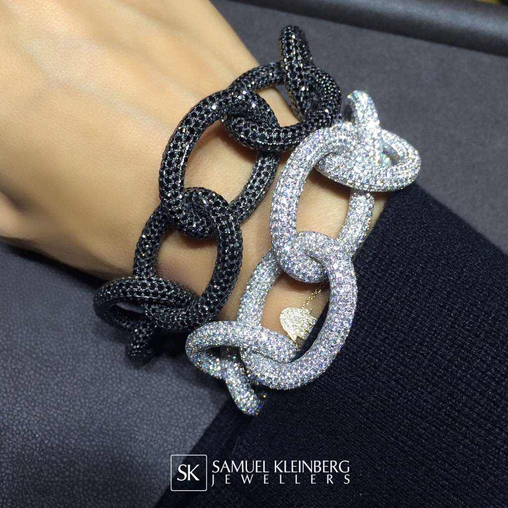 Black and white diamond link bracelets