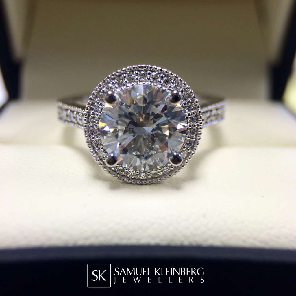 vintage milgrain halo engagement ring