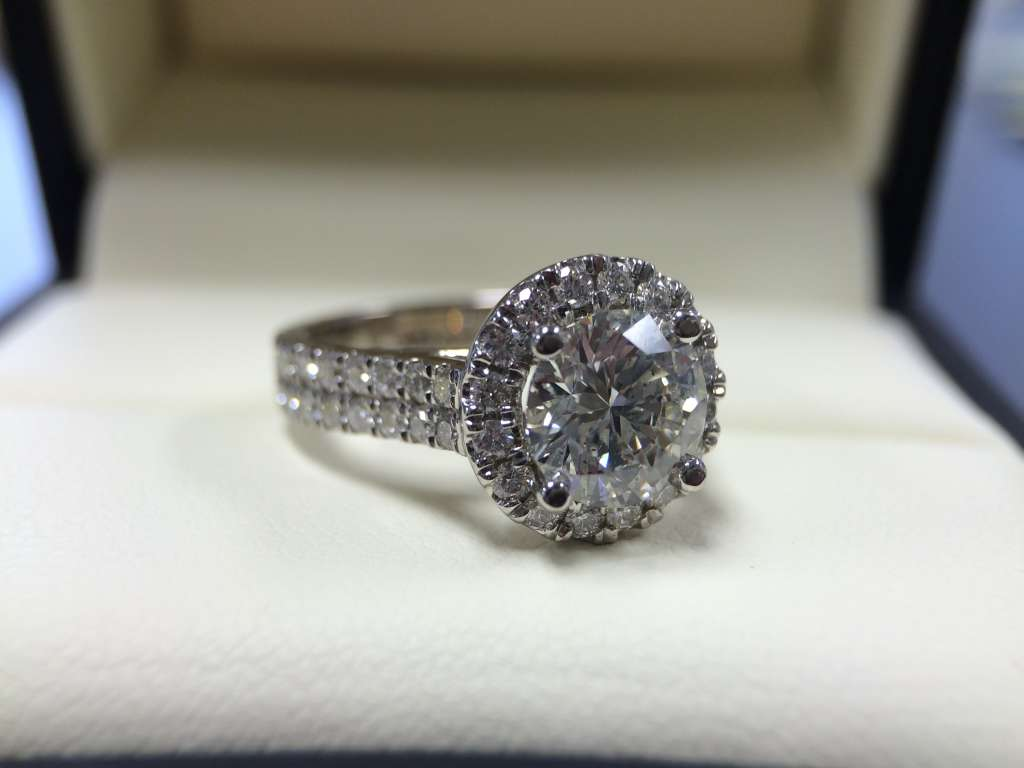 round halo engagement ring with double row band