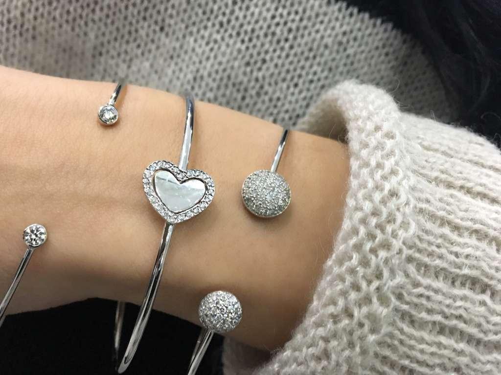 heart and diamond pave bangles