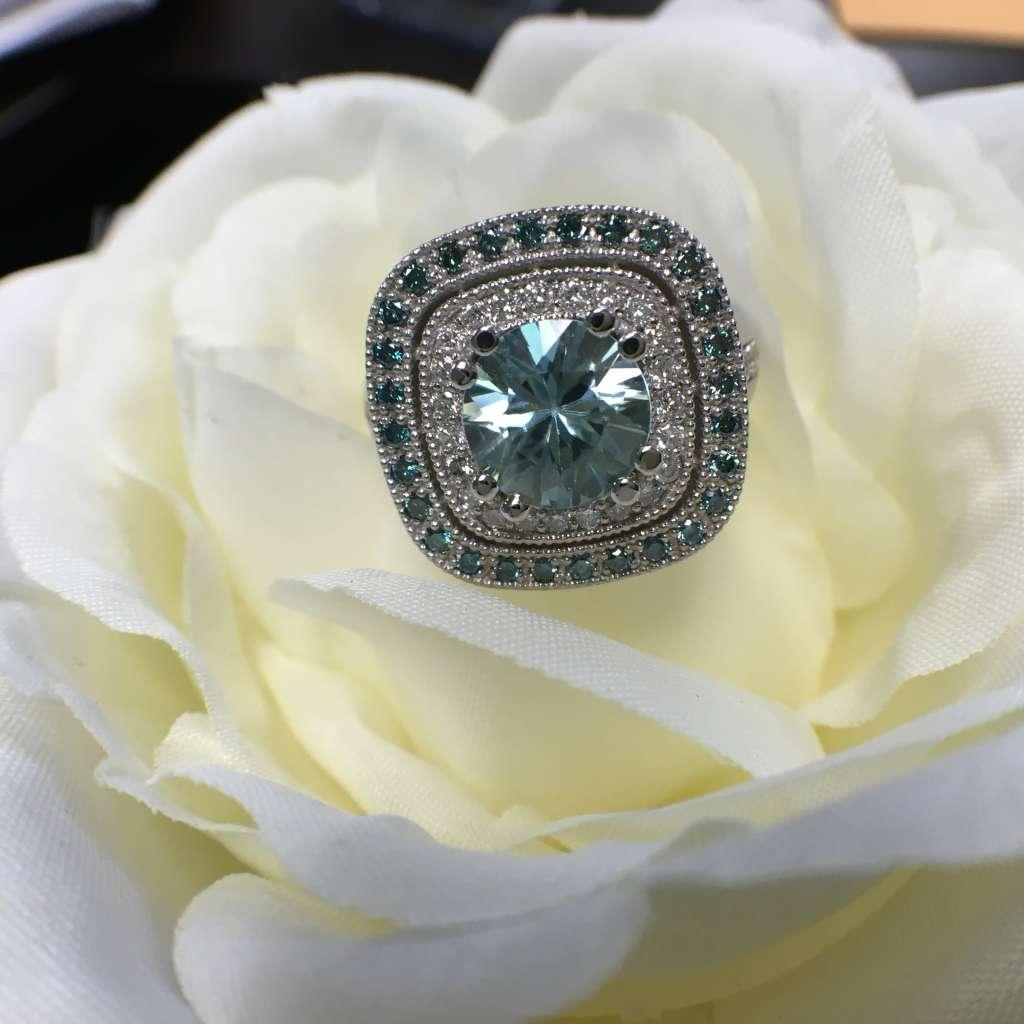 blue topaz diamond halo ring