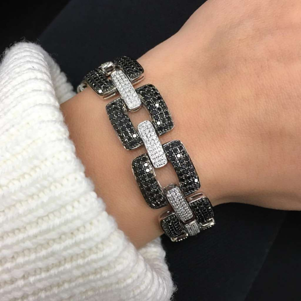 diamond and black diamond pave link bracelet